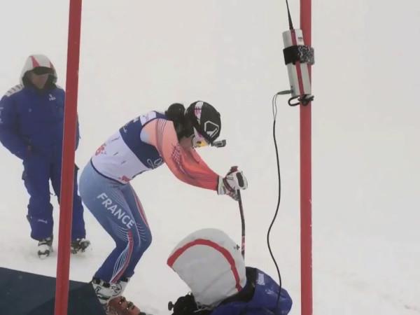 Marie Bochet au départ de l'entrainement de Slalom Géant - Sotchi 2014